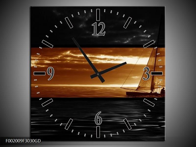 Wandklok op Glas Boot   Kleur: Sepia, Bruin   F002009CGD
