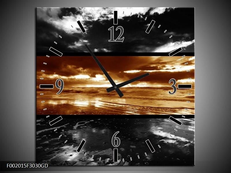 Wandklok op Glas Zonsondergang | Kleur: Sepia, Bruin | F002015CGD