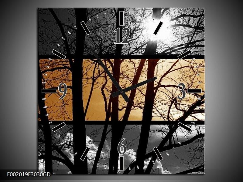 Wandklok op Glas Natuur | Kleur: Sepia, Bruin | F002019CGD