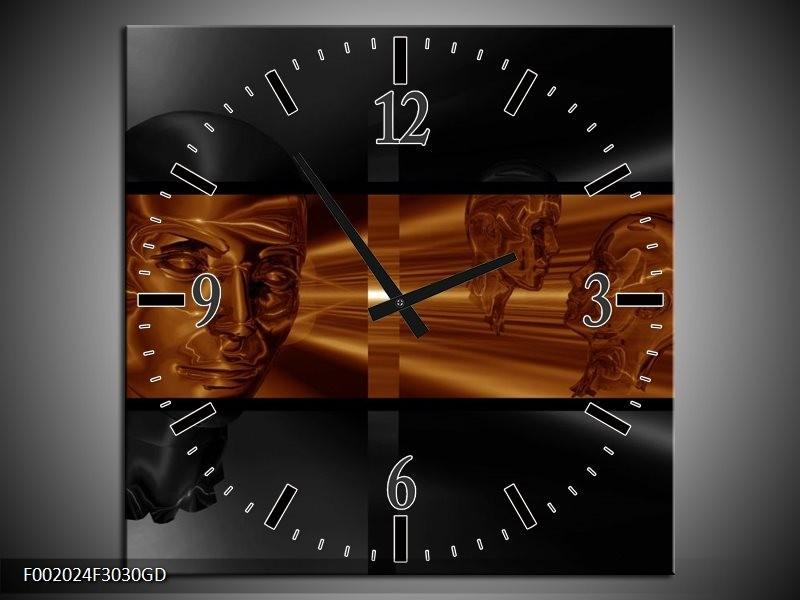 Wandklok op Glas Abstract   Kleur: Sepia, Bruin   F002024CGD