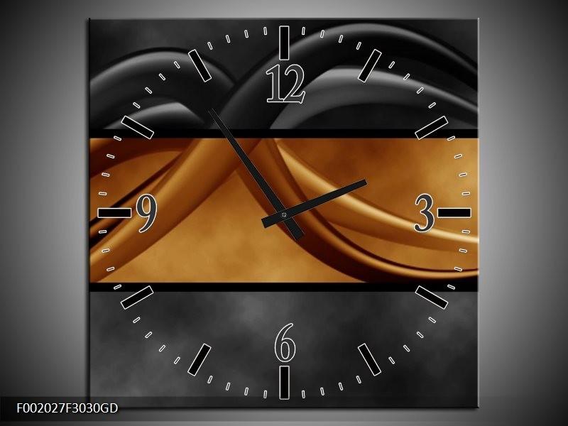 Wandklok op Glas Abstract   Kleur: Sepia, Bruin   F002027CGD