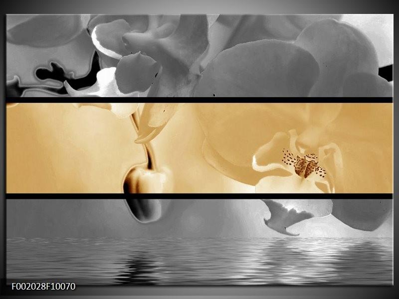 Foto canvas schilderij Orchidee | Sepia, Grijs