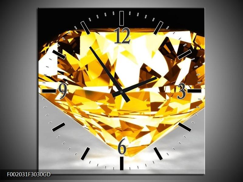 Wandklok op Glas Steen | Kleur: Geel, Grijs, Wit | F002031CGD