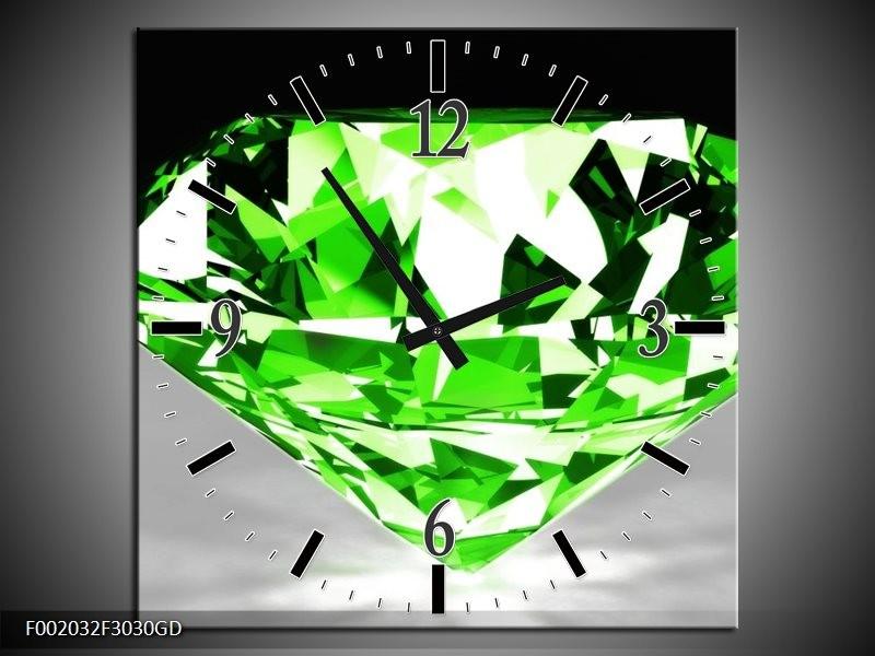 Wandklok op Glas Steen | Kleur: Groen, Grijs, Wit | F002032CGD