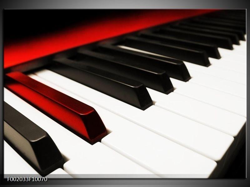 Foto canvas schilderij Piano | Zwart, Wit, Rood