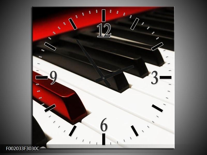 Wandklok op Canvas Piano   Kleur: Zwart, Wit, Rood   F002033C