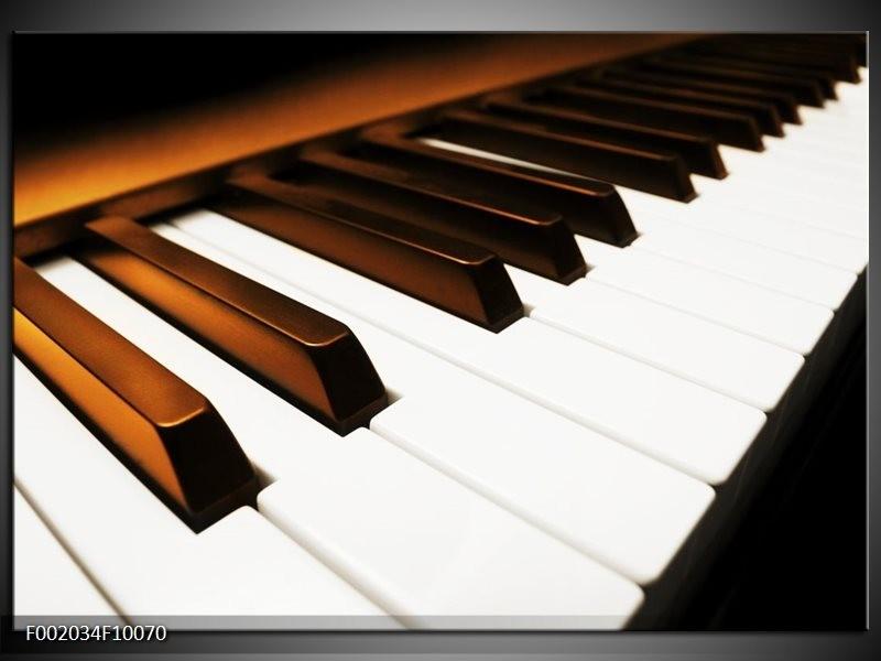 Foto canvas schilderij Piano | Bruin, Zwart, Wit