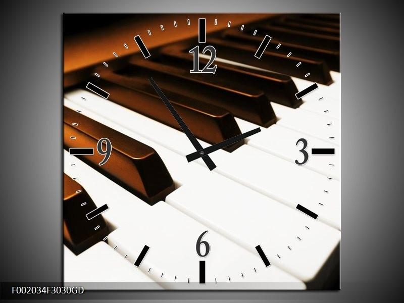 Wandklok op Glas Piano   Kleur: Bruin, Zwart, Wit   F002034CGD