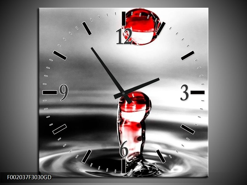 Wandklok op Glas Druppels   Kleur: Zwart, Wit, Rood   F002037CGD