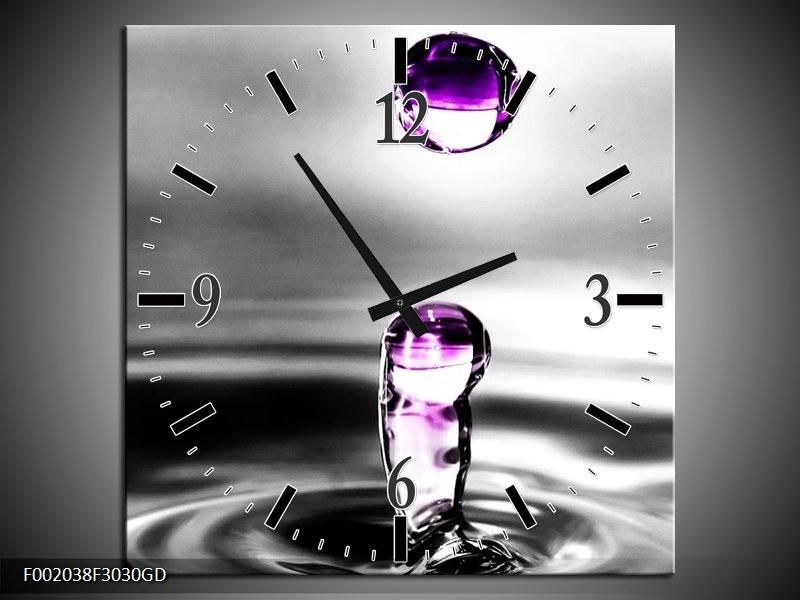 Wandklok op Glas Druppels | Kleur: Zwart, Wit, Paars | F002038CGD