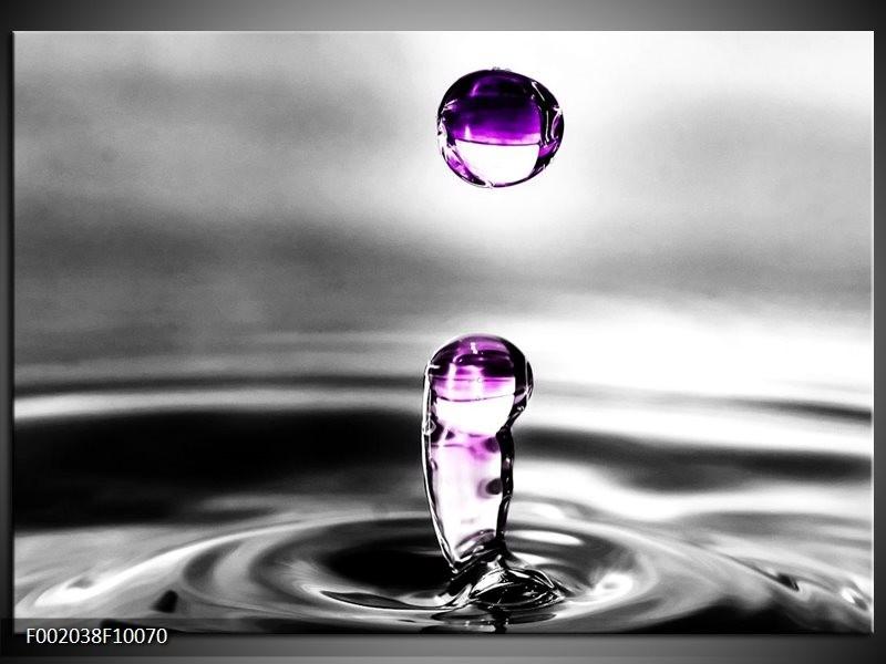 Glas schilderij Druppels | Zwart, Wit, Paars
