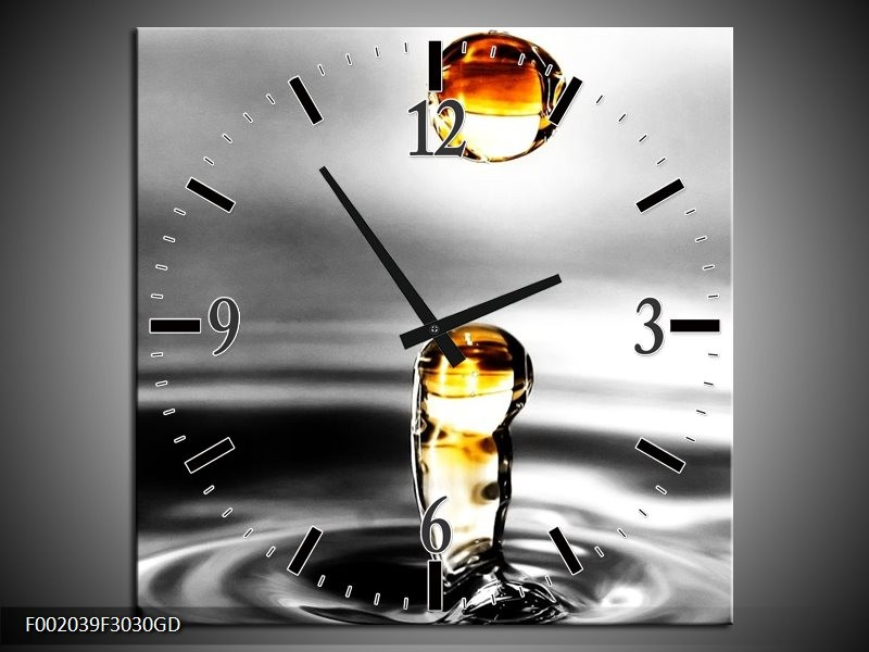 Wandklok op Glas Druppels   Kleur: Zwart, Wit, Geel   F002039CGD