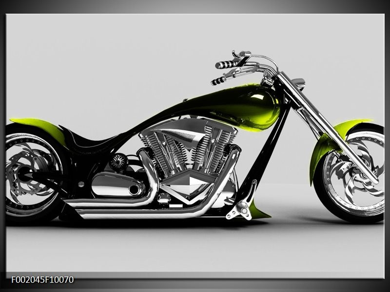 Glas schilderij Motor | Grijs, Zwart, Groen