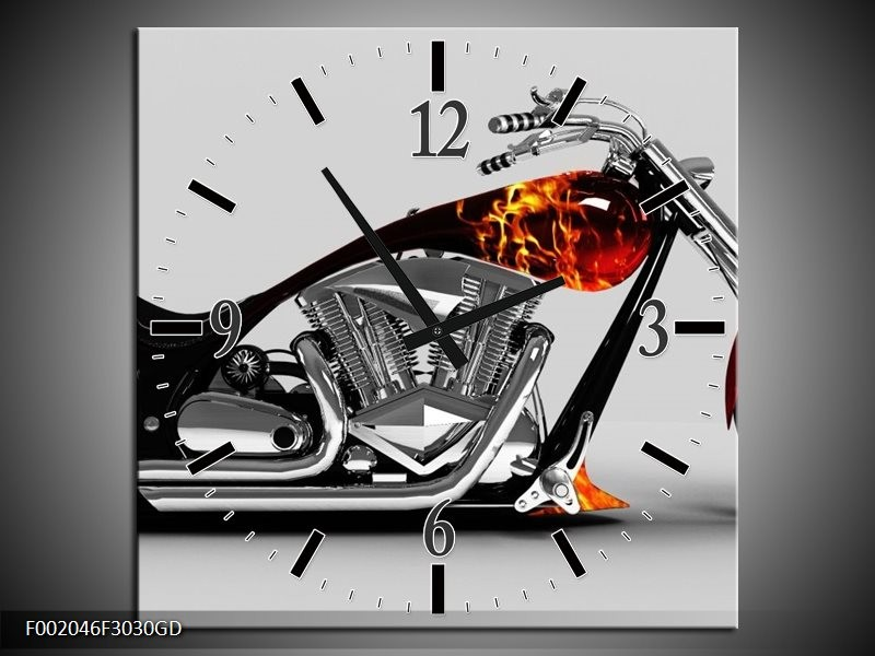 Wandklok op Glas Motor   Kleur: Grijs, Zwart, Oranje   F002046CGD