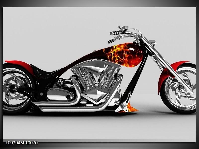 Glas schilderij Motor | Grijs, Zwart, Oranje