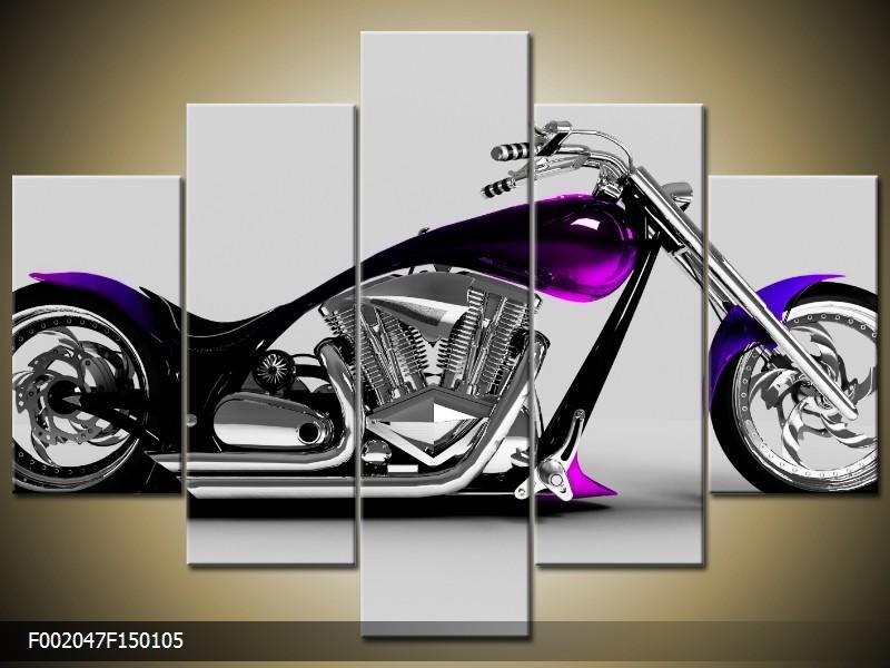 Canvas schilderij Motor | Grijs, Zwart, Paars | 150x105cm 5Luik