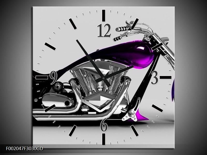 Wandklok op Glas Motor | Kleur: Grijs, Zwart, Paars | F002047CGD