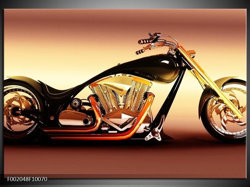 Foto canvas schilderij Motor | Oranje, Bruin, Geel