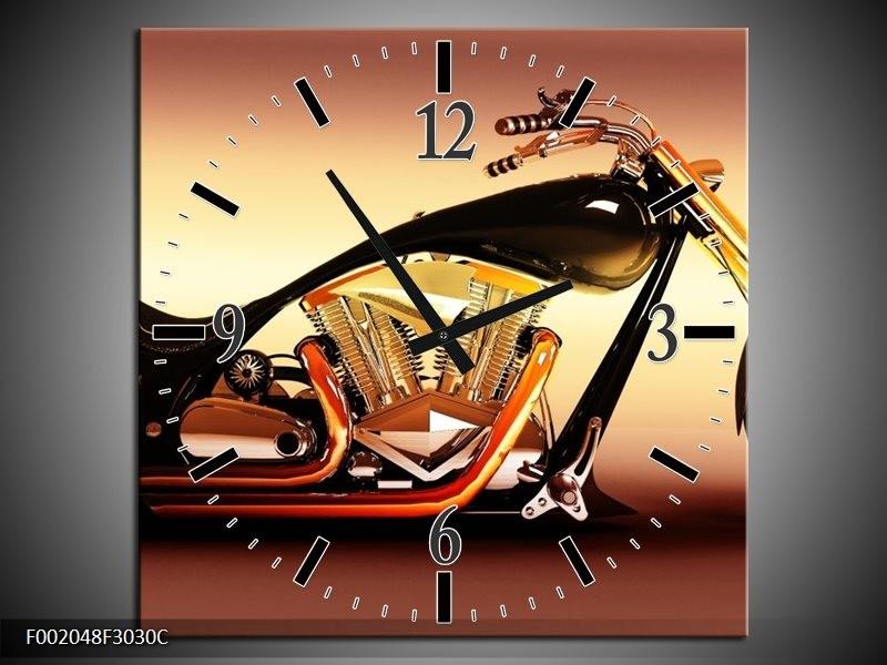 Wandklok op Canvas Motor   Kleur: Oranje, Bruin, Geel   F002048C