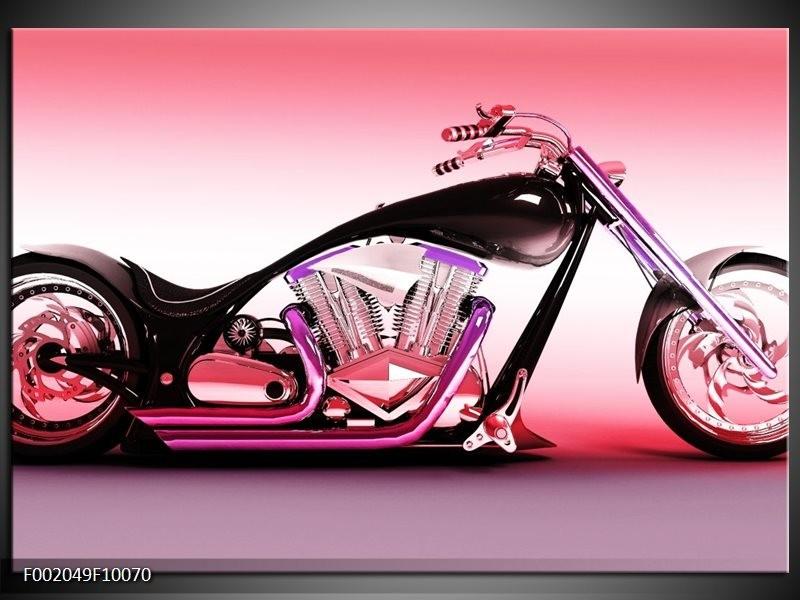 Foto canvas schilderij Motor | Paars, Roze, Zwart