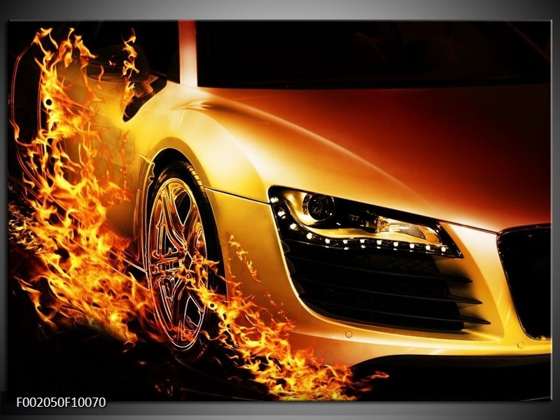 Foto canvas schilderij Auto | Oranje, Goud, Zwart