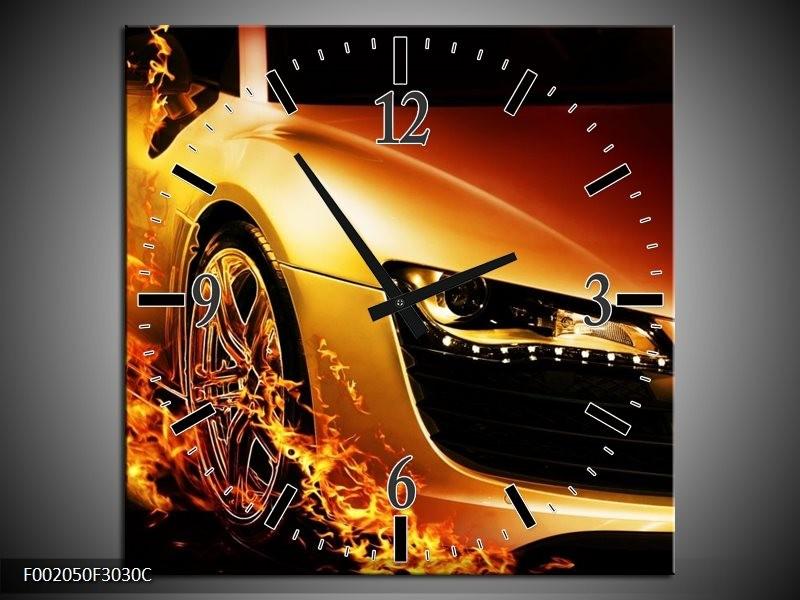 Wandklok op Canvas Auto | Kleur: Oranje, Goud, Zwart | F002050C
