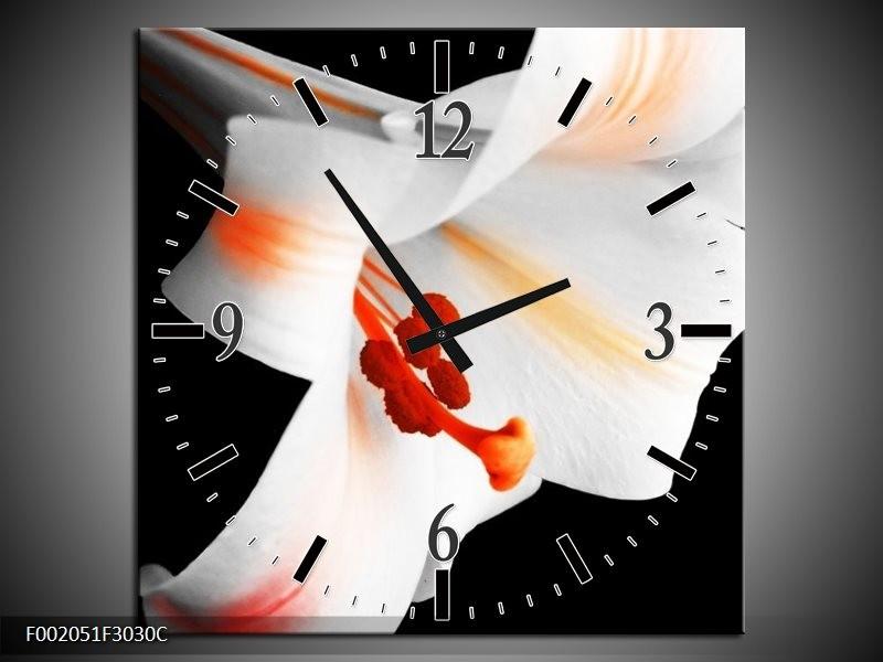 Wandklok op Canvas Bloem   Kleur: Zwart, Wit, Oranje   F002051C