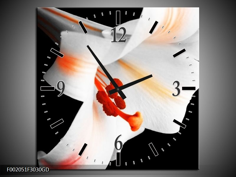 Wandklok op Glas Bloem | Kleur: Zwart, Wit, Oranje | F002051CGD