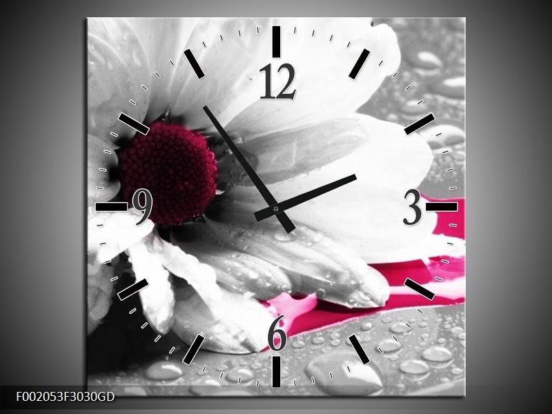 Wandklok op Glas Bloem | Kleur: Grijs, Wit, Roze | F002053CGD
