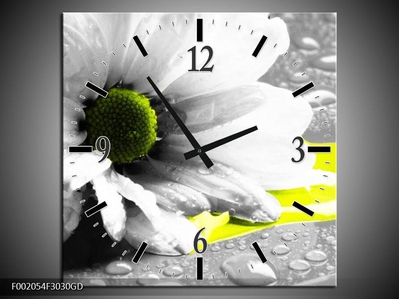 Wandklok op Glas Bloem | Kleur: Grijs, Wit, Geel | F002054CGD