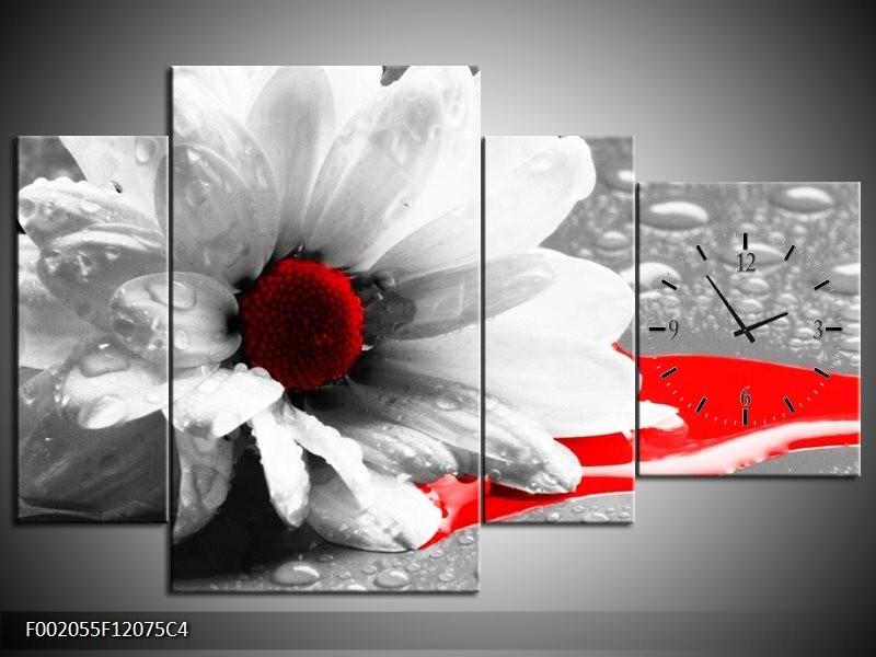 Klok schilderij Bloem | Grijs, Wit, Rood | 120x75cm 4Luik