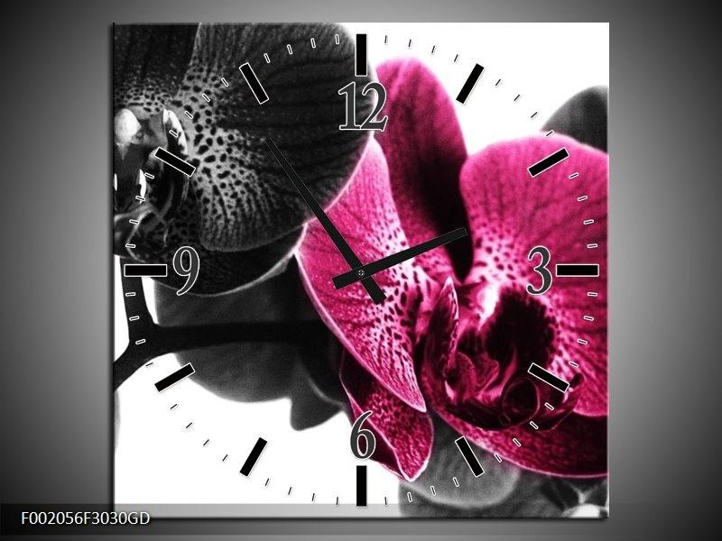 Wandklok op Glas Orchidee | Kleur: Zwart, Wit, Roze | F002056CGD
