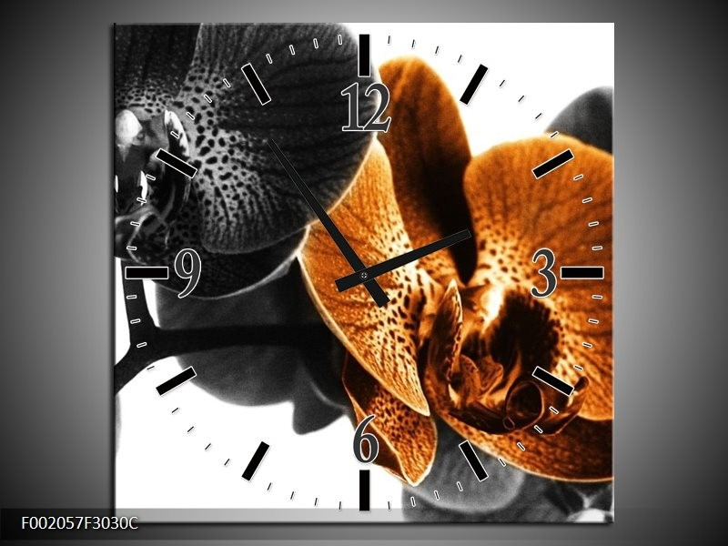 Wandklok op Canvas Orchidee   Kleur: Zwart, Wit, Oranje   F002057C