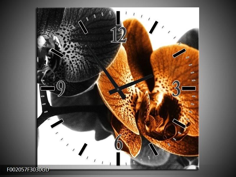 Wandklok op Glas Orchidee | Kleur: Zwart, Wit, Oranje | F002057CGD