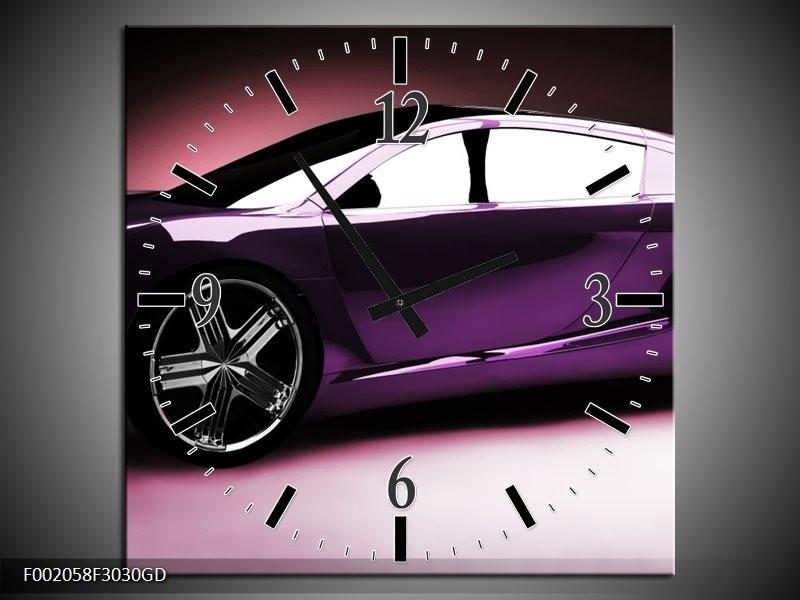Wandklok op Glas Auto   Kleur: Paars, Zwart, Wit   F002058CGD