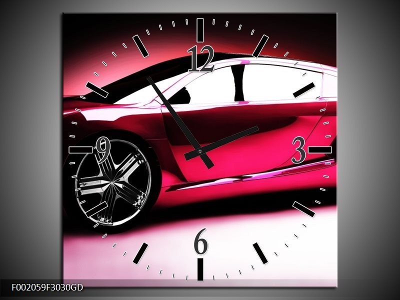 Wandklok op Glas Auto   Kleur: Roze, Zwart, Wit   F002059CGD