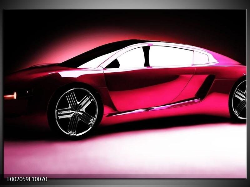Glas schilderij Auto | Roze, Zwart, Wit