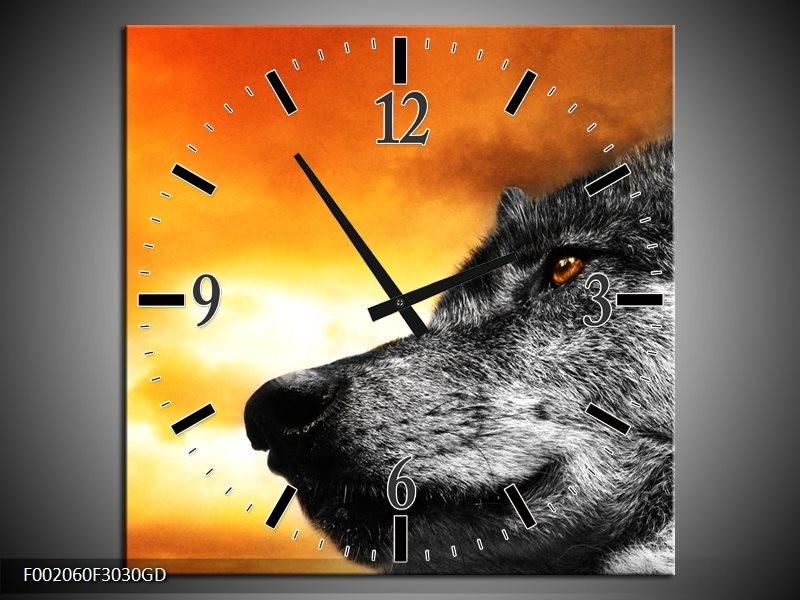 Wandklok op Glas Wolf   Kleur: Geel, Grijs, Wit   F002060CGD