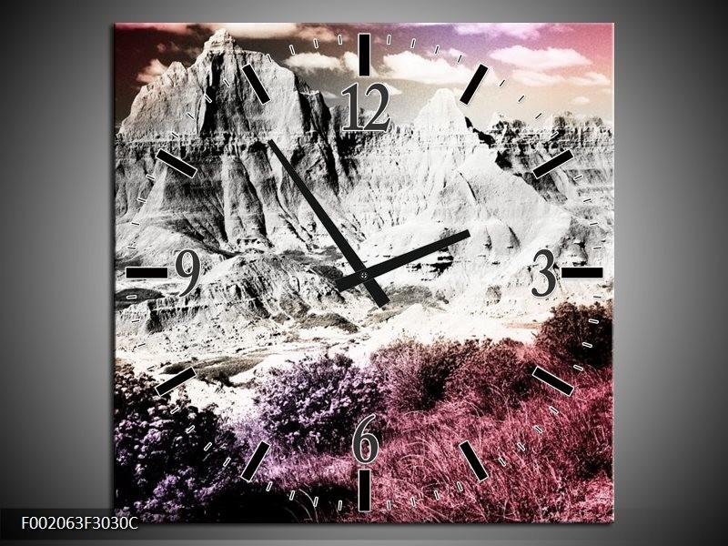 Wandklok op Canvas Bergen | Kleur: Grijs, Paars, Wit | F002063C