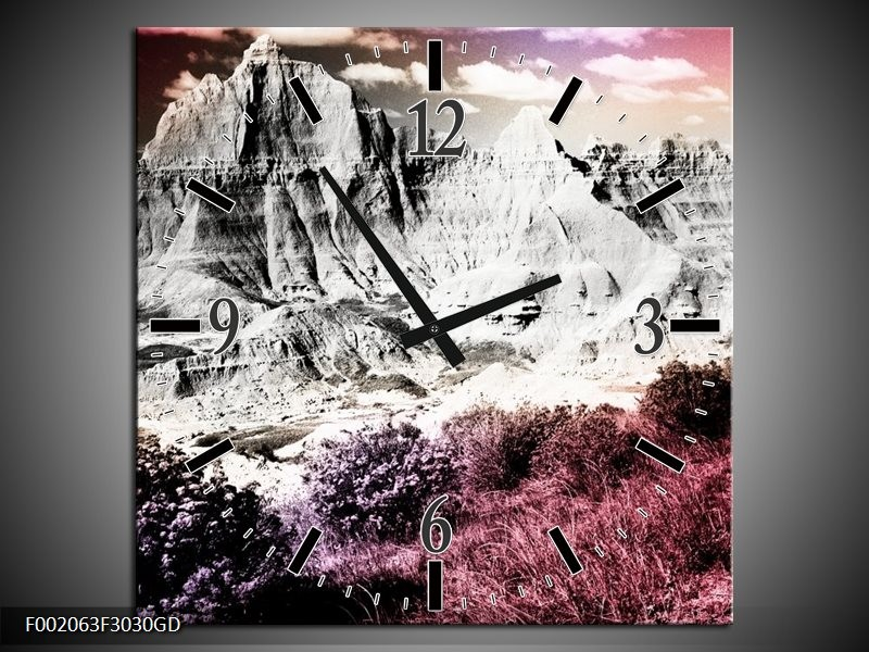 Wandklok op Glas Bergen | Kleur: Grijs, Paars, Wit | F002063CGD