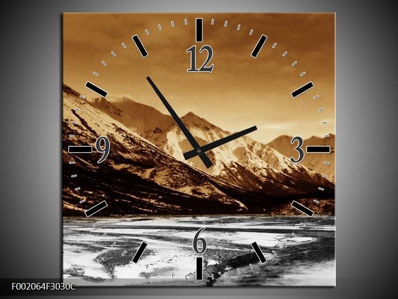 Wandklok op Canvas Bergen | Kleur: Bruin, Zwart, Wit | F002064C