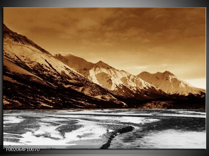 Glas schilderij Bergen | Bruin, Zwart, Wit