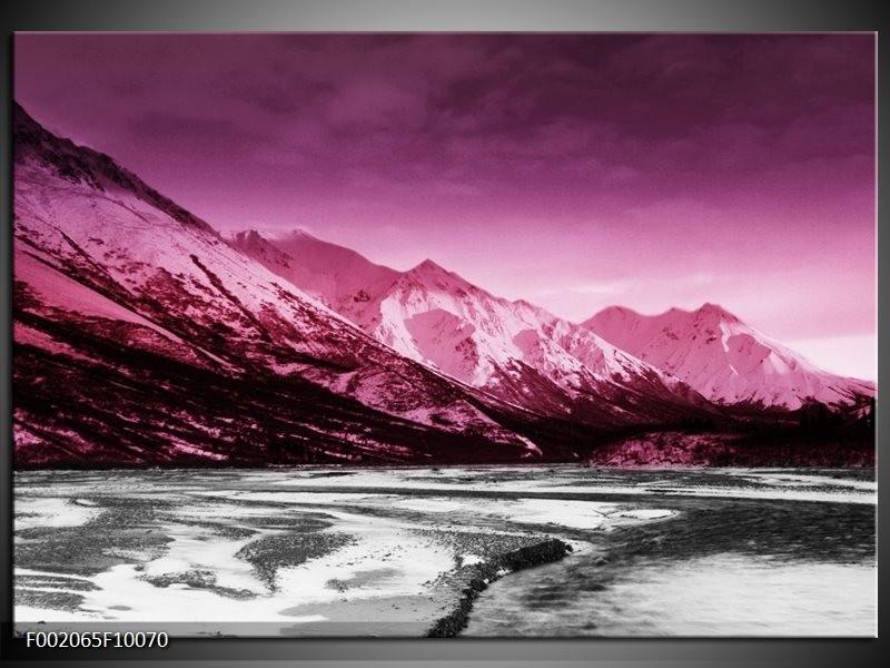 Foto canvas schilderij Bergen | Roze, Grijs, Wit
