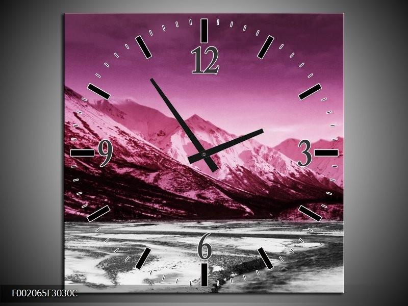 Wandklok op Canvas Bergen | Kleur: Roze, Grijs, Wit | F002065C