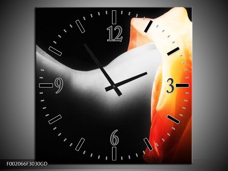 Wandklok op Glas Lichaam | Kleur: Zwart, Wit, Oranje | F002066CGD