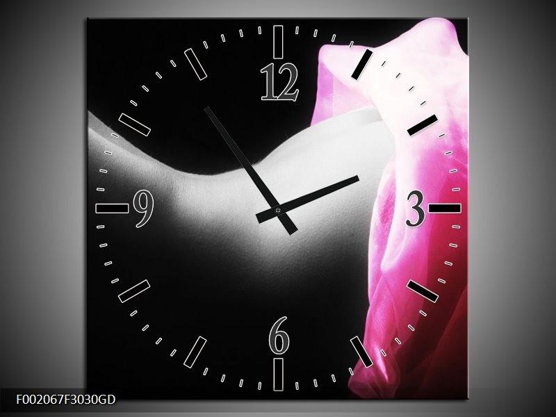 Wandklok op Glas Lichaam   Kleur: Zwart, Wit, Roze   F002067CGD