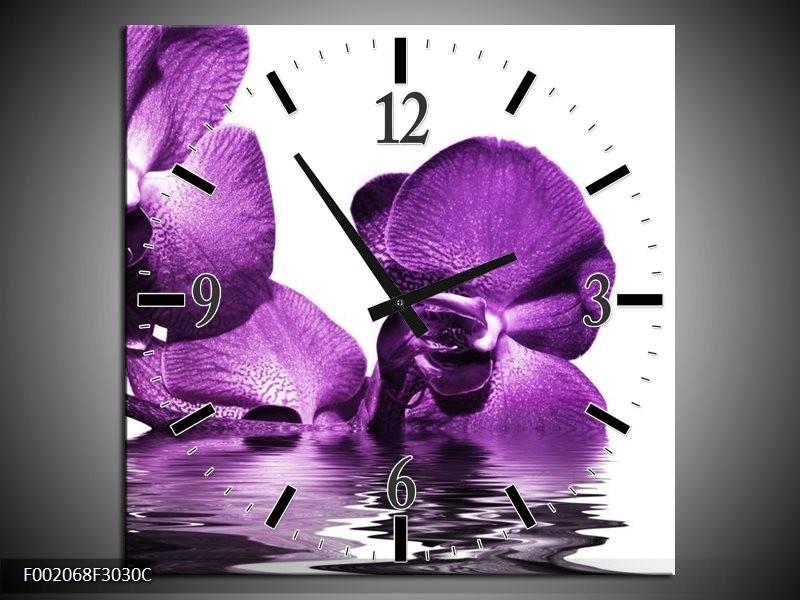 Wandklok op Canvas Orchidee | Kleur: Paars, Wit | F002068C