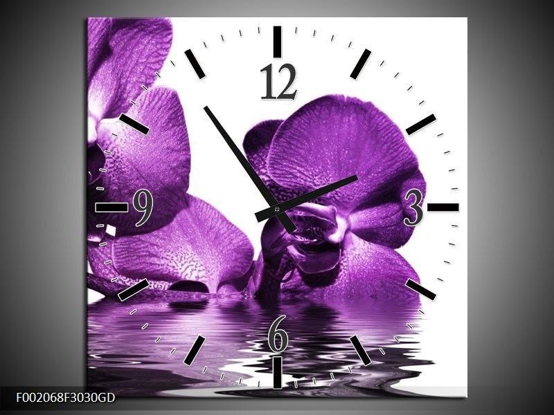 Wandklok op Glas Orchidee | Kleur: Paars, Wit | F002068CGD