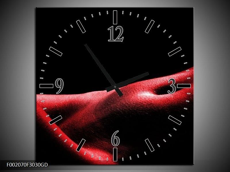 Wandklok op Glas Vrouw   Kleur: Rood, Zwart   F002070CGD