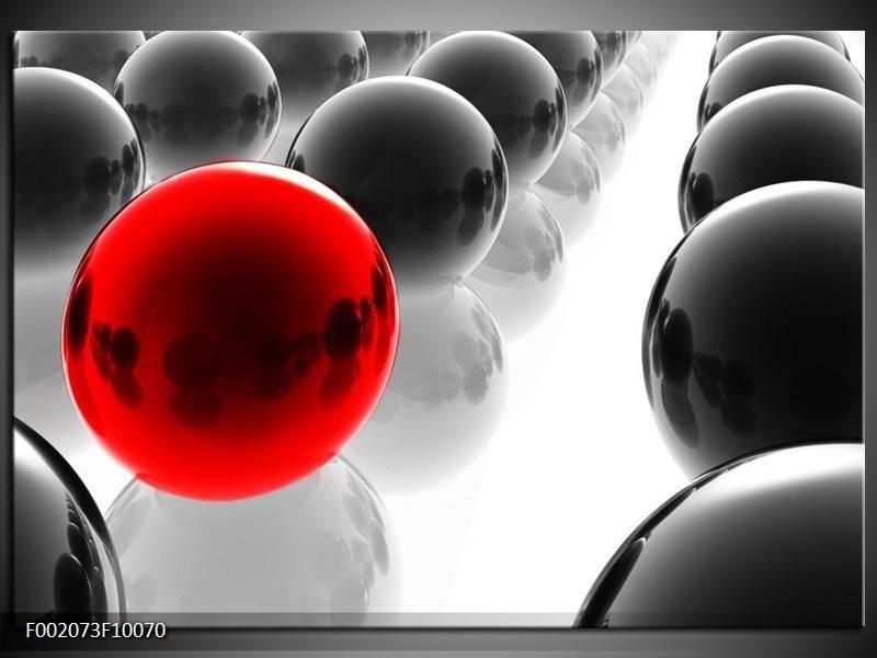 Foto canvas schilderij Ballen | Rood, Zwart, Wit